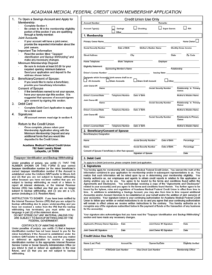 ACADIANA MEDICAL FEDERAL CREDIT UNION MEMBERSHIP APPLICATION - mylcu