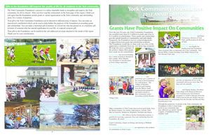 To view the 2012 Annual Report. - York Community Foundation - yorkcommunityfoundation