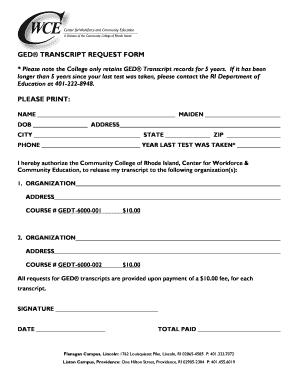 Fillable Online ccri GED Transcript Request Form - Community ...