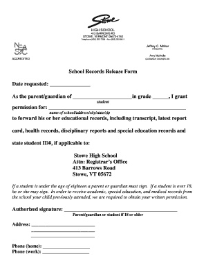 Fillable Online stowe k12 vt School Records Release Form Date ...