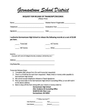 Fillable Online Transcript/Records Request Form - Germantown ...