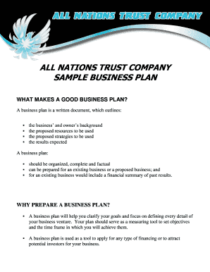 Download Sample Business Plan - All Nations Trust Company