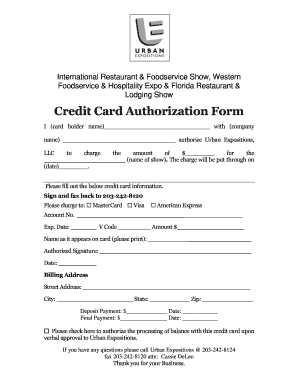 Fillable Online Credit Card Authorization Form - International ...