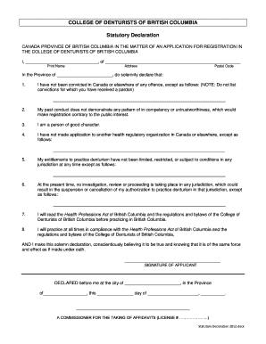 Statutory declaration template canada editable fillable statutory declaration college of denturists of british columbia altavistaventures Choice Image