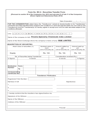 Form No Sh 4 Securities Transfer Form Template - Fill Online ...