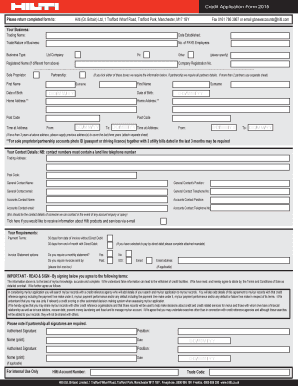 Credit Application Form 2015 Please return completed form to: Hilti (Gt