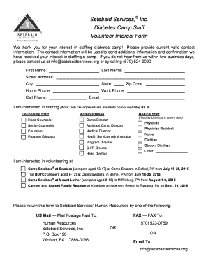 Setebaid Services, Inc. Diabetes Camp Staff Volunteer Interest Form - setebaidservices