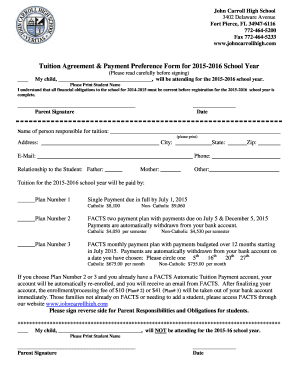 Installment payment agreement template forms fillable for Tuition contract template