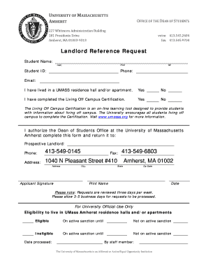 Landlord Reference Request Form - University of Massachusetts ...