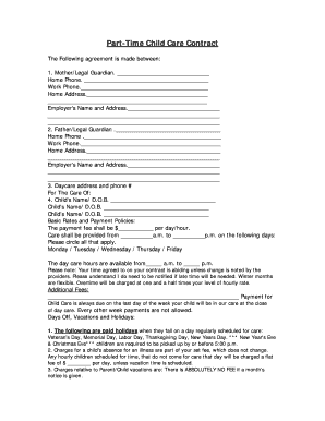 Part-Time Child Care Contract Fill Online, Printable
