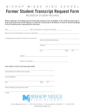 Fillable Online Former Student Transcript Request Form - Bishop