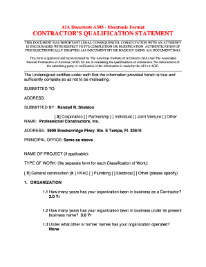 A305 contractor 39 s qualification statement form templates for Aia a305 template