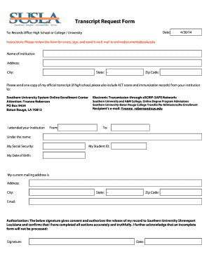 college transcript request form template - Fillable & Printable ...