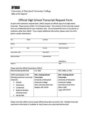 Generic High School Transcript Request Form   UMUC   Umuc