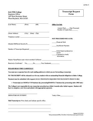 Salter College Transcript Request Form
