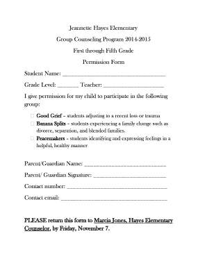 Small Group Permission Slip Form