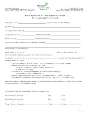 Parent permission form for travel fill out print download parent permission for extended travel form c altavistaventures Image collections