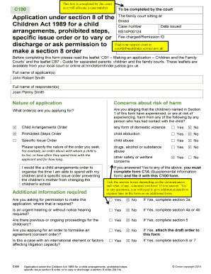 Fillable Online diydivorce familylaw co Example Form C100