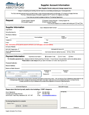 Fillable Online Supplier Account Information Form COA - City of