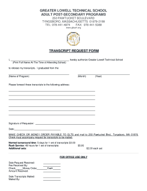 Transcript request form - Greater Lowell Technical High School