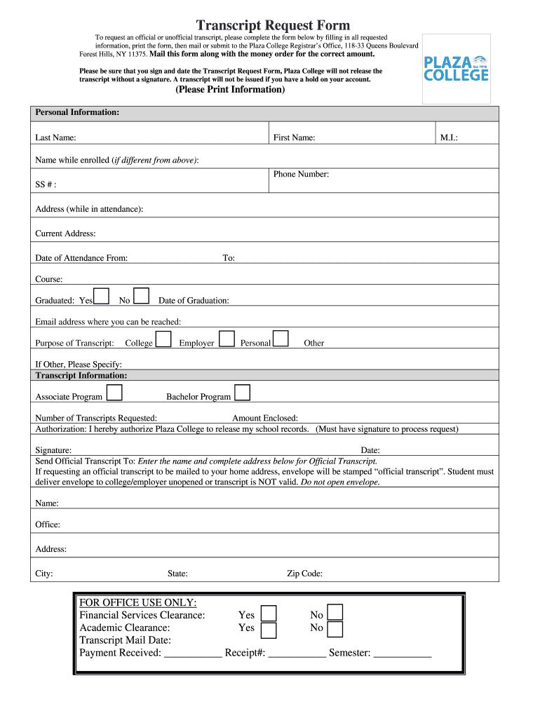 Plaza College Transcript Request - Fill Online, Printable