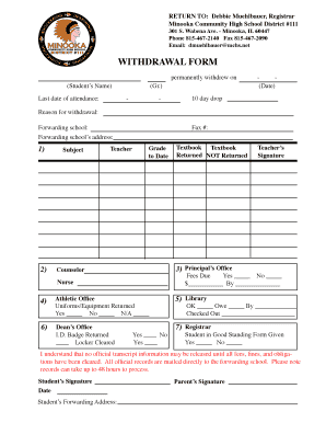 Fillable Online WITHDRAWAL FORM - Minooka High School Fax Email ...
