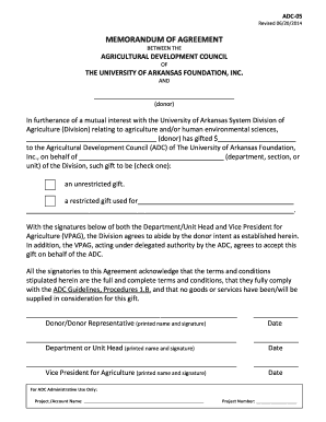 Memorandum Of Agreement Between the Agricultural Development Council of the University of Arkansas Foundation, Inc.. Agricultural Development Council Memorandum of Agreement form. - uaex