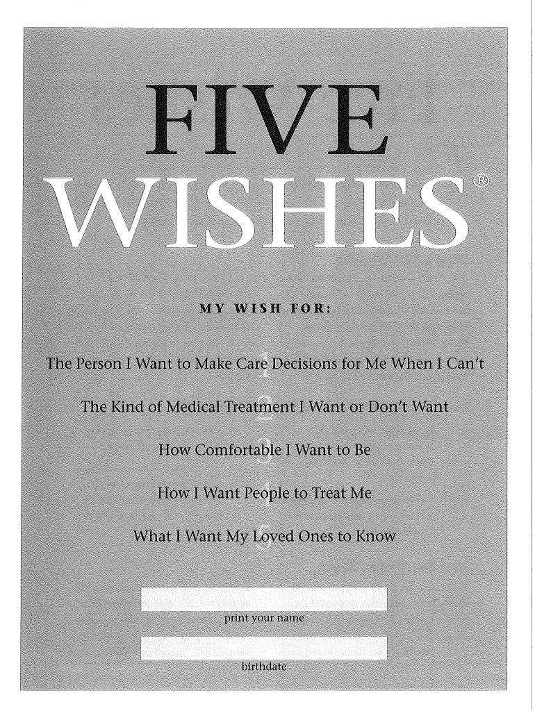 Five Wishes Pdf Fill And Sign Printable Template Online Us Legal Forms