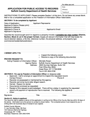Fillable Online suffolkcountyny Application For FOIL Request (Form ...