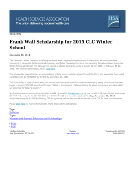 The Canadian Labour Congress is offering the Frank Wall Leadership Development Scholarship to all union members