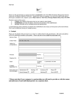 Editable questionnaire for restaurant managers Form Samples