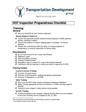 dot inspection checklist - Fillable & Printable Templates to