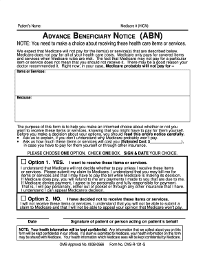 Medicare Advance Beneficiary Notice of Noncoverage (ABN) Form