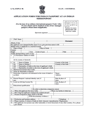 India Passport Apply From - Fill Online, Printable, Fillable ...
