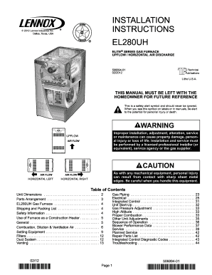 fillable online el280uh two stage gas furnace installation manual rh pdffiller com lennox ml195 furnace installation manual lennox furnace user manual