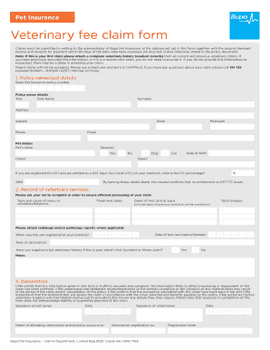 Fillable Online Pet Insurance Veterinary fee claim form - Bupa Fax ...