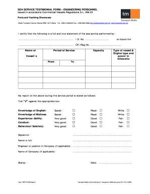 Download Sea Service Testimonial Form For Engineers - Fill Online ...