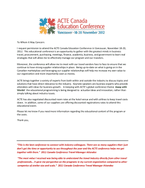 Fillable Online I request permission to attend the ACTE Canada