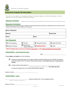request for property file information north saanich