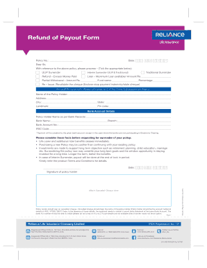 Fillable Online Refund of Payout Form - Reliance Life ...