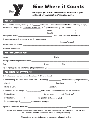 Download Mail-in Donation Form - YMCA of San Francisco