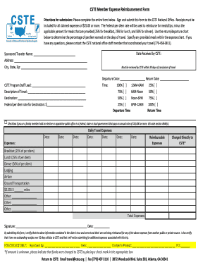 CSTE Member Expense Reimbursement Form - cste