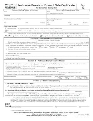 Fillable Online Nebraska Resale or Exempt Sale Certificate Form ...