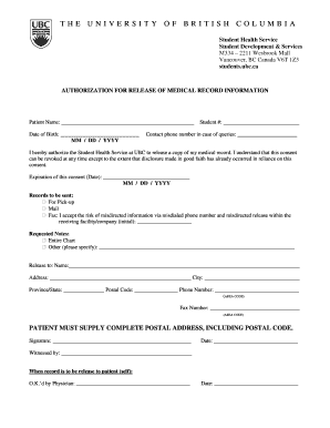 consent to release medical information form template