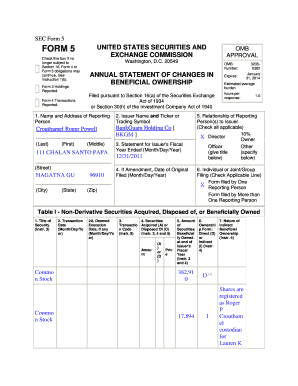 Fillable Online SEC Form 5 FORM 5 UNITED STATES SECURITIES AND OMB ...