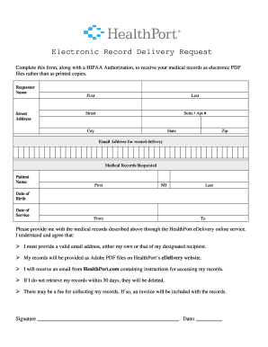 medical records request form pdf electronic record delivery request saint peters healthcare - Medical Records Request Form