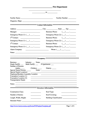 Fire Department Pre Plan Forms Fillable - Fill Online, Printable ...