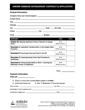 AHRMM WEBINAR SPONSORSHIP CONTRACT U0026 APPLICATION