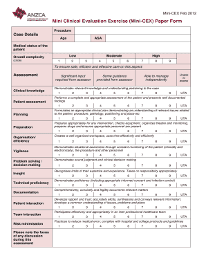 Mini Clinical Evaluation Exercise (Mini-CEX) Paper Form - anzca edu