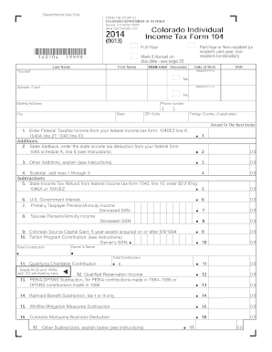 Fillable Online Colorado Individual Income Tax Form 104